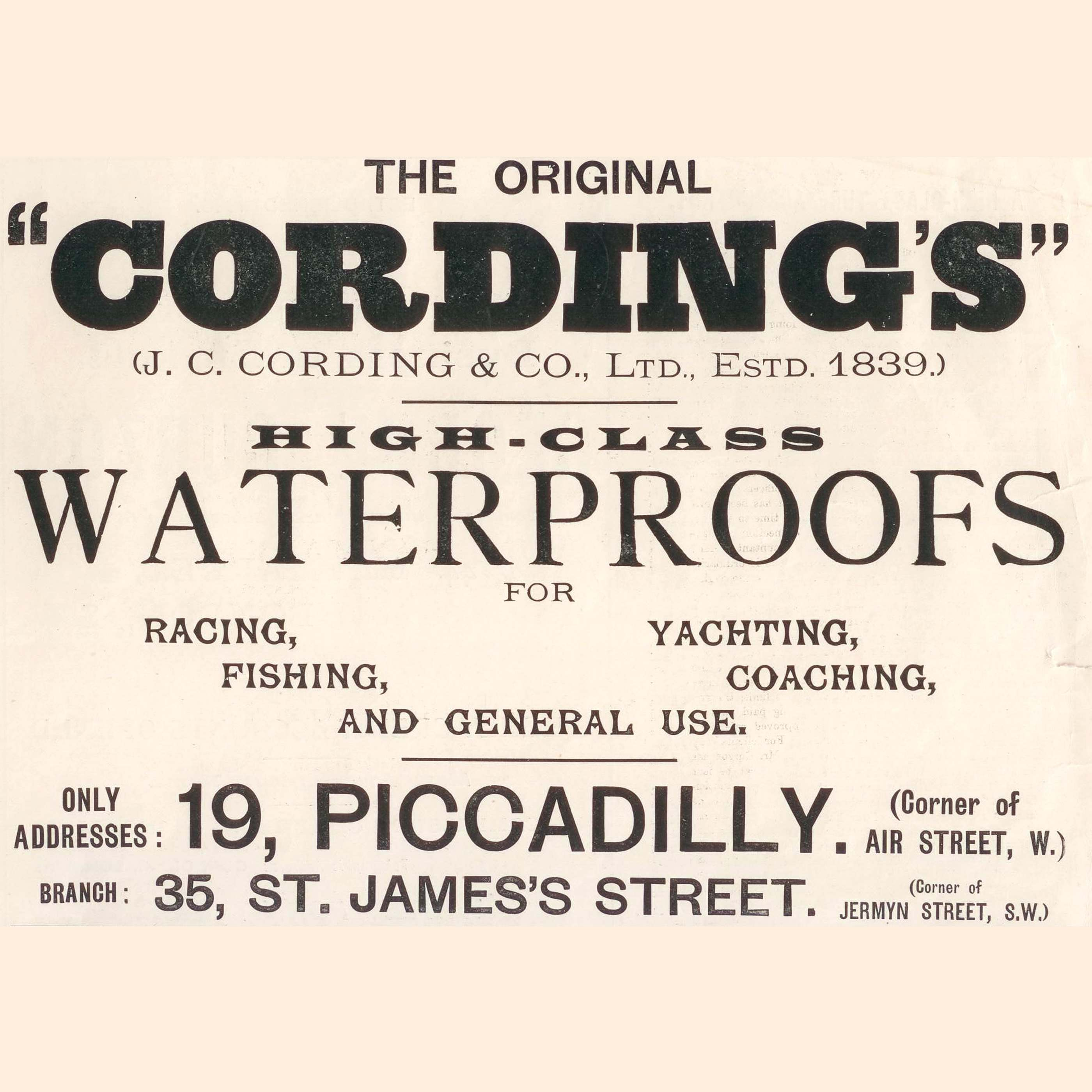Early Cordings adverts