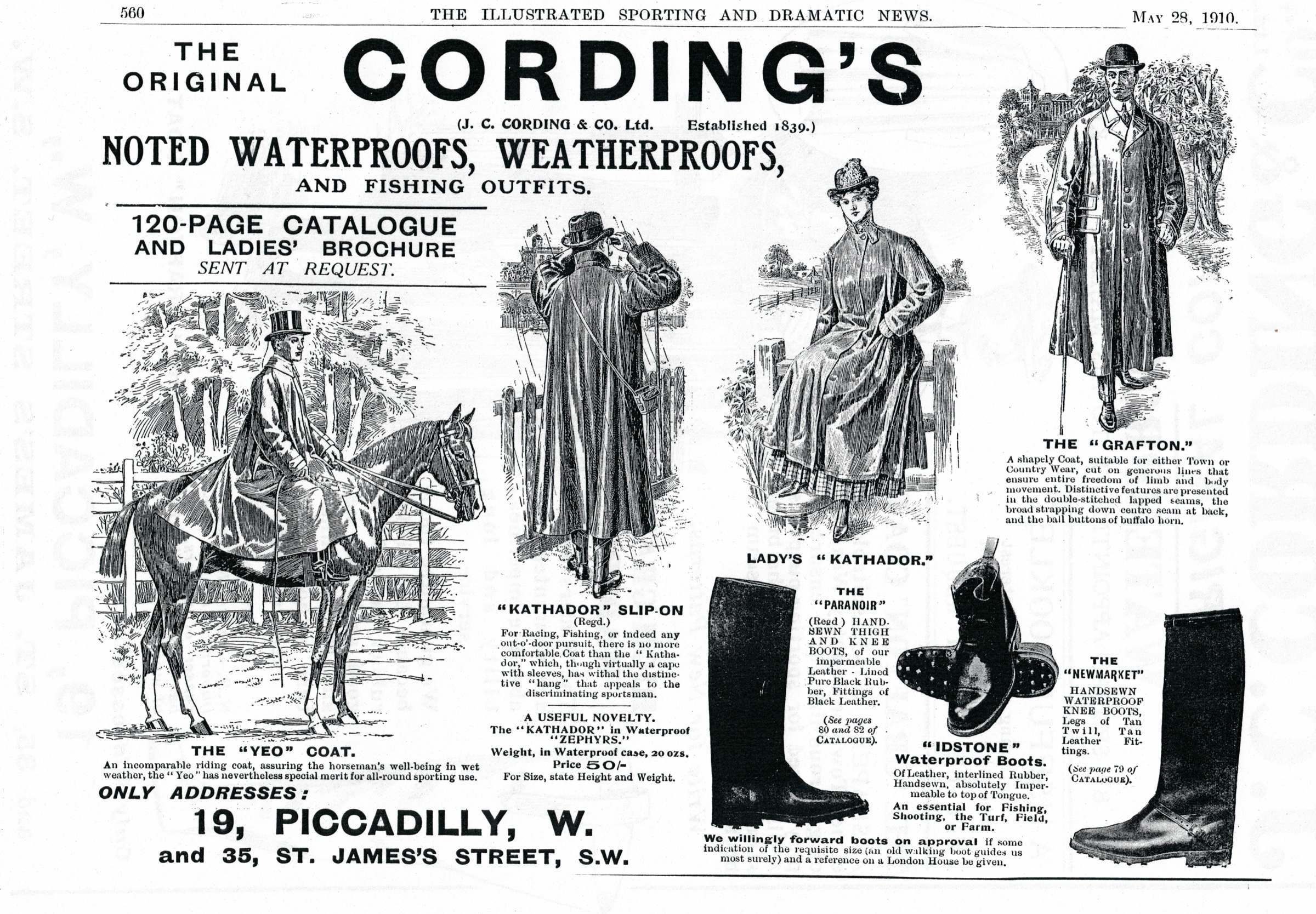 Early Cordings Advert showing the Newmarket boots