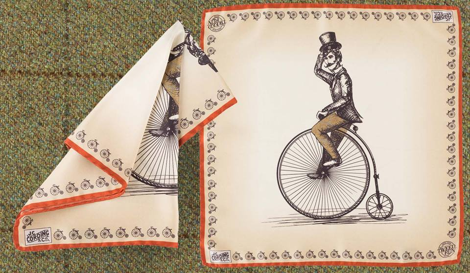 The Official Tweed Run Handkerchief, featuring a penny farthing.