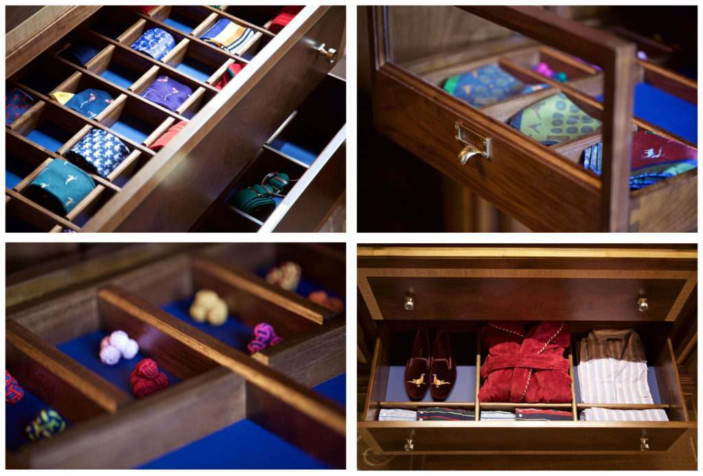 4 pictures to show the inside drawers of the town and vanity cabinets.