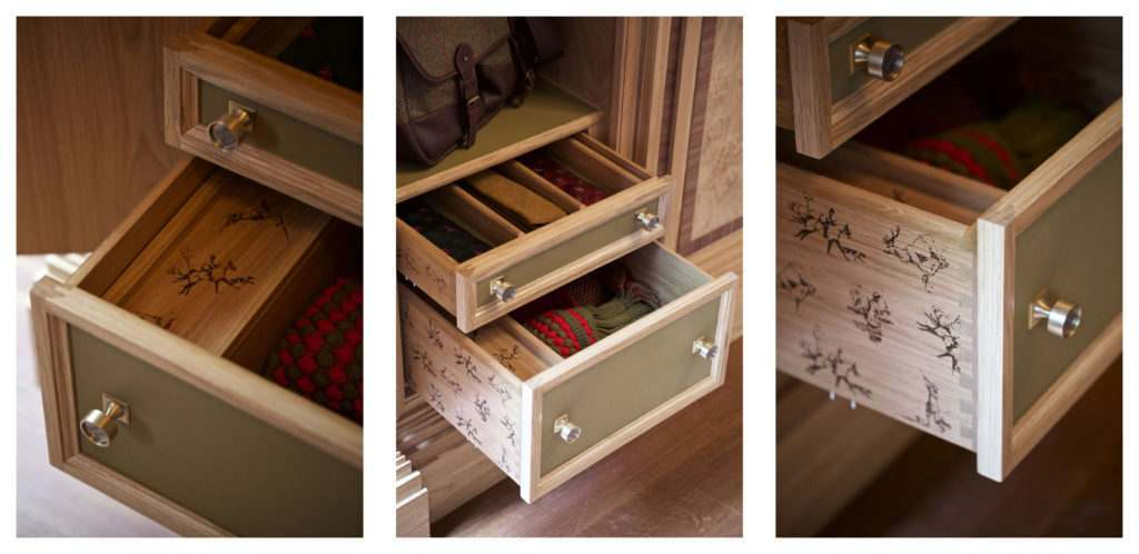 3 pictures of drawers, full of shooting accessories.