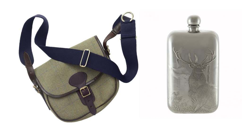 British Made House Check Cartridge bag and silver reindeer pewter flask