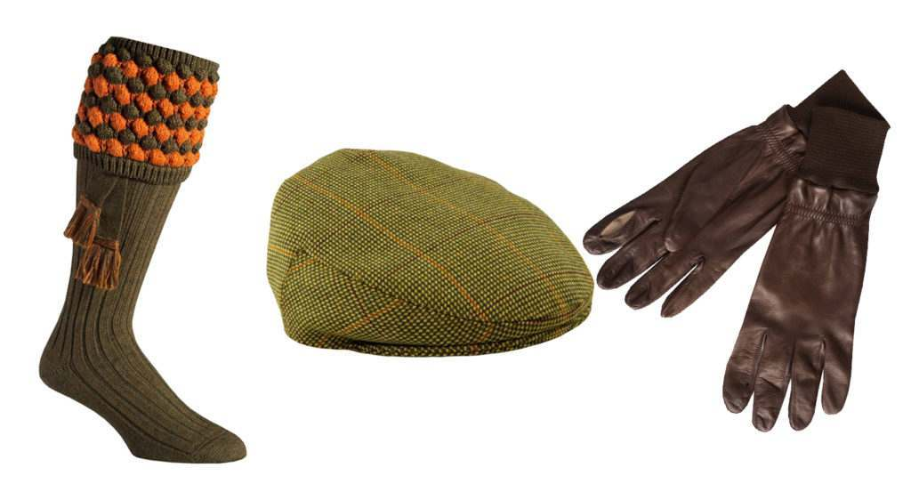 Shooting Accessories: Green shooting stockings, tweed cap and dark leather shooting gloves