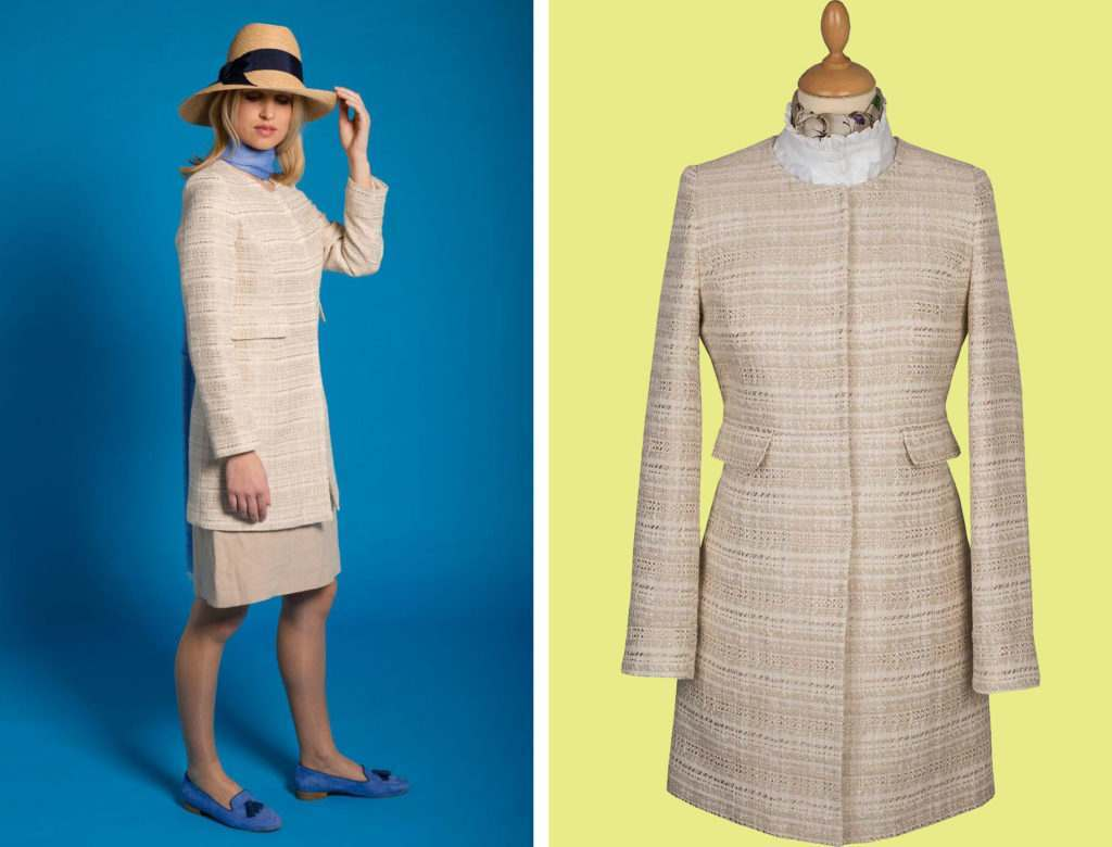Cream and White Boucle Coat from Cordings