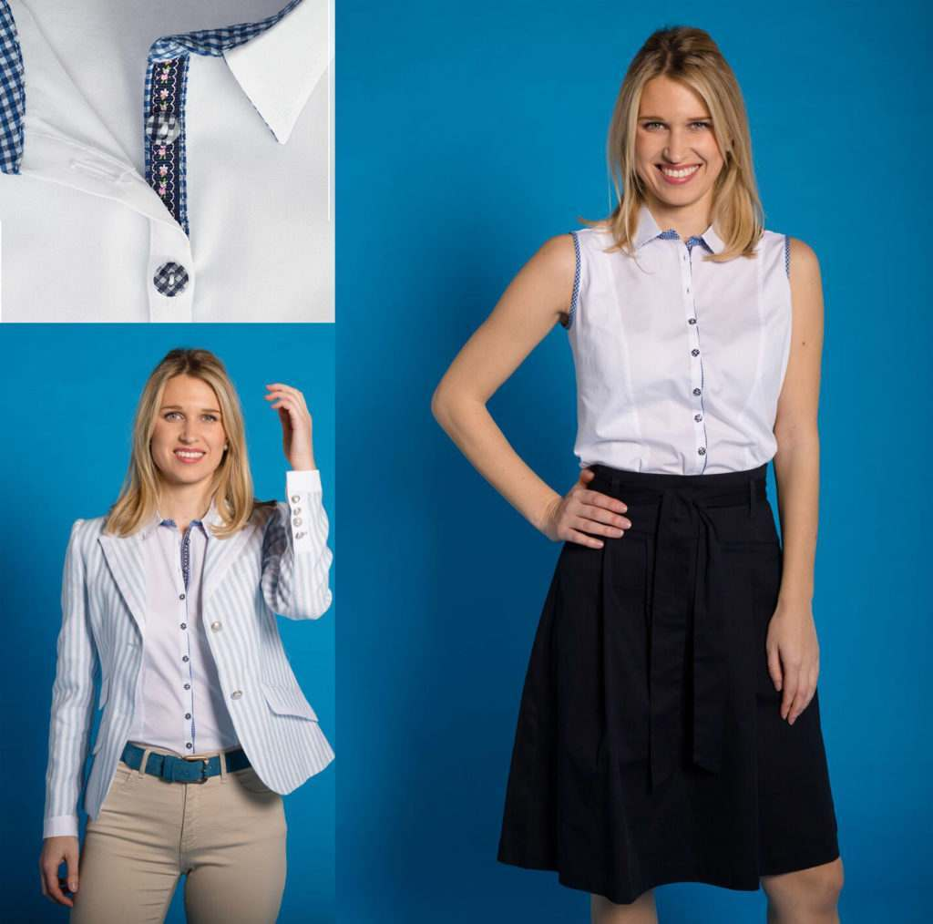 Sleeveless cotton shirt with navy skirt