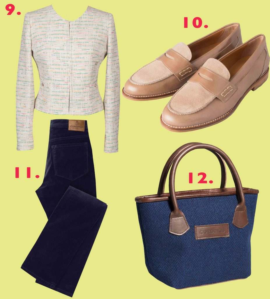Tweed Summer Cropped Jacket, Taupe Leather and Suede Loafers, Navy Velvet Jeans, Small Blue Tweed Handbag