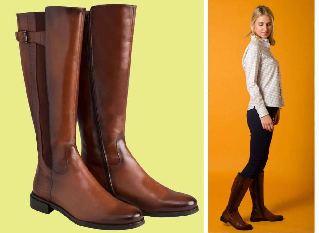 Chocolate leather below the knee ladies boots from Cordings