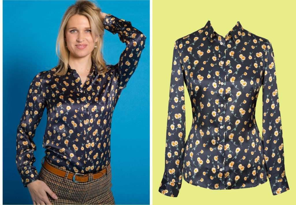 Melody print satin silk Liberty shirt from Cordings