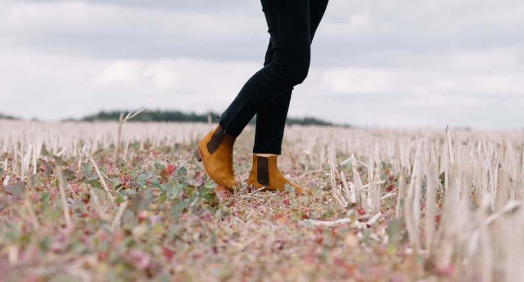 Legs in a field wearing tan suede chelsea boots and navy jodhpurs.