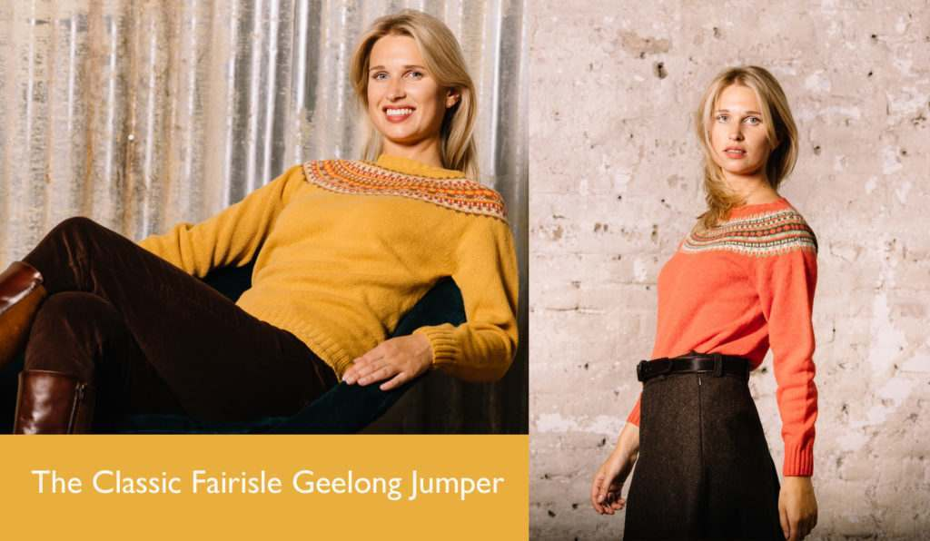 Composite Shot of 2 women wearing yellow jumper with brown geometric design and orange jumper with green geometric design.