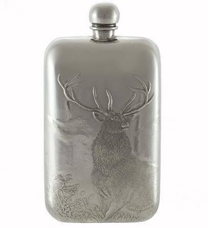 Silver Reindeer Pewter Flask