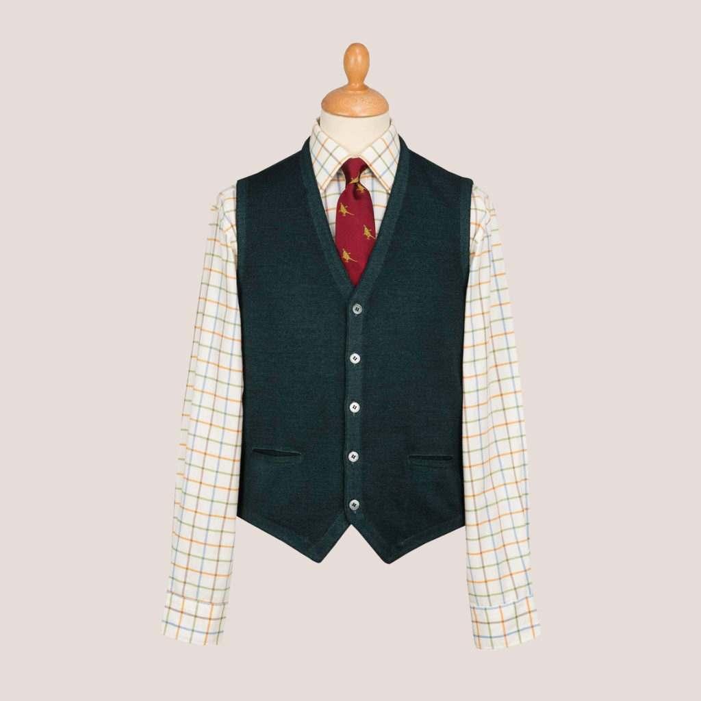 Merino wool mens knitted waistcoat