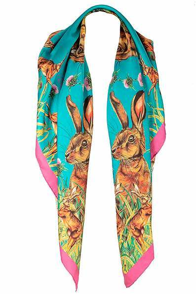 Turquoise Hare Silk Square Scarf