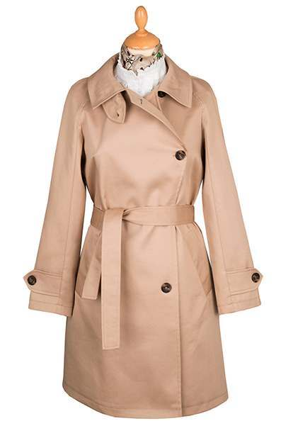Classic Cream Belted Ladies Trench Coat