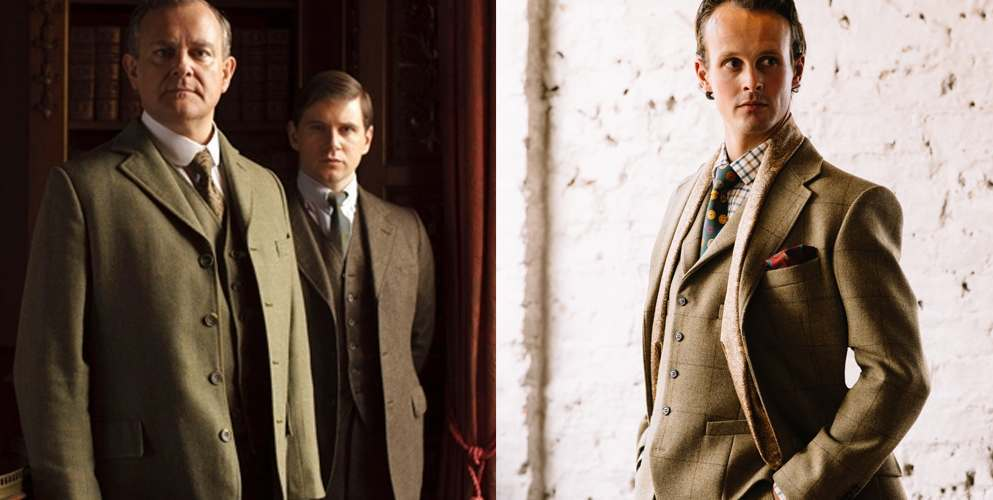 Lord Grantham wearing off duty country tweed 3 piece suit