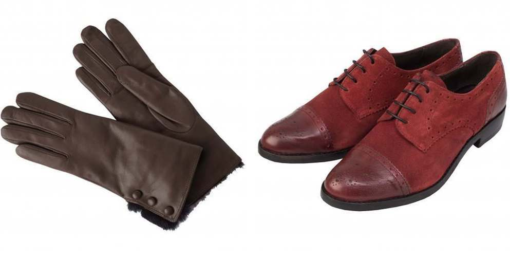 Ladies 1920s country style leather gloves and red suede brogues