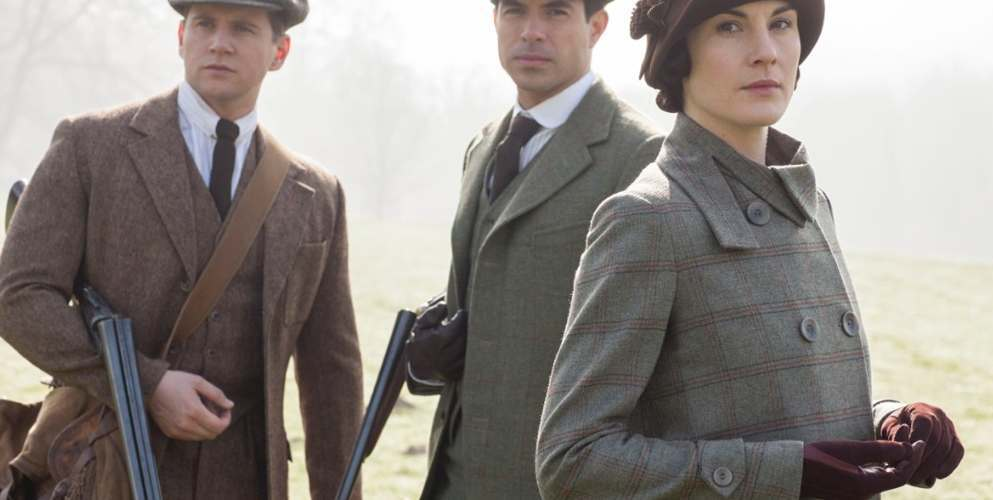 Lady Mary from Downton Abbey wearing tailored British tweed jacket