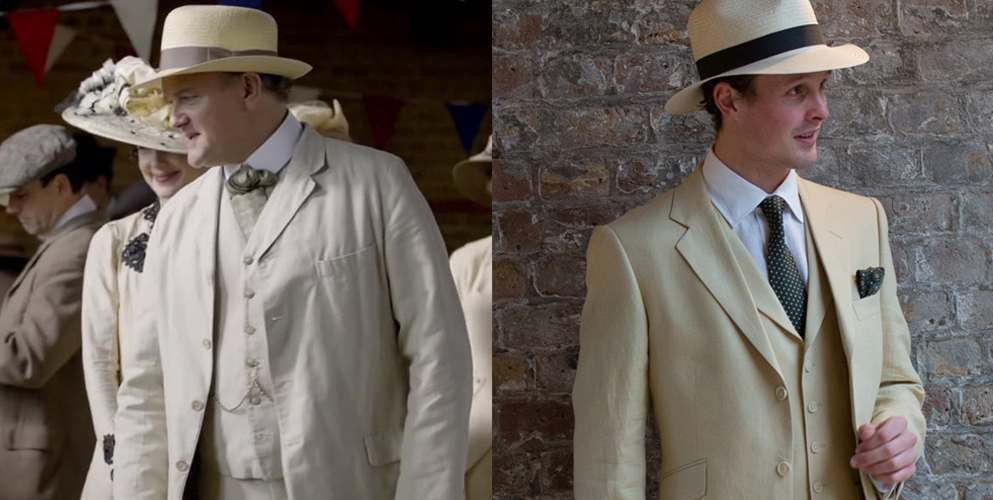 Lord Grantham from Downtown Abbey wearing cream linen suit and panama hat