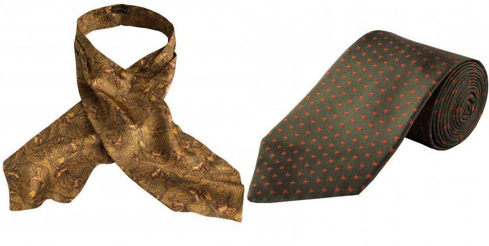 Gold pheasant print cravat and country green silk cravat by Cordings