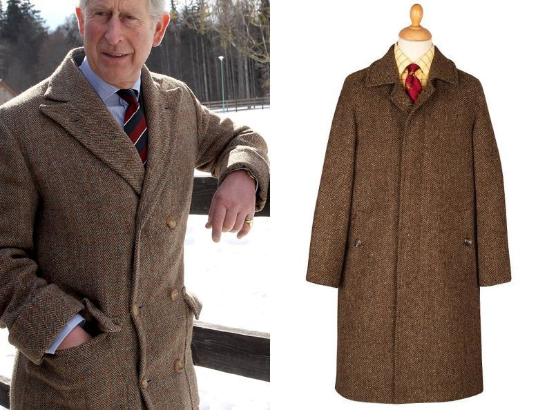 Prince Charles wearing a classic chocolate Herringbone Donegal coat