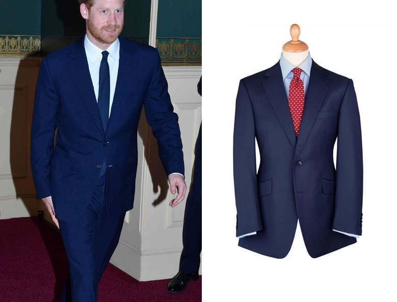 Prince Harry walking in a bright, tailored blue suit