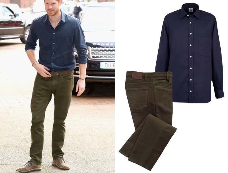 Prince Harry posing in a blue open shirt and olive moleskin jeans