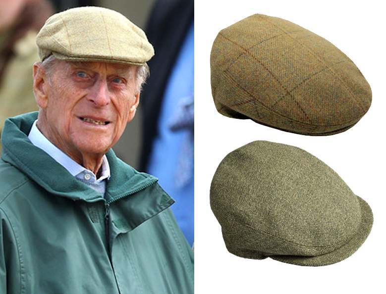 Scottish tweed caps, as worn by Prince Philip