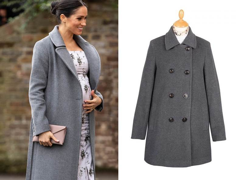 A pregnant Meghan Markle wearing a lambswool pea coat