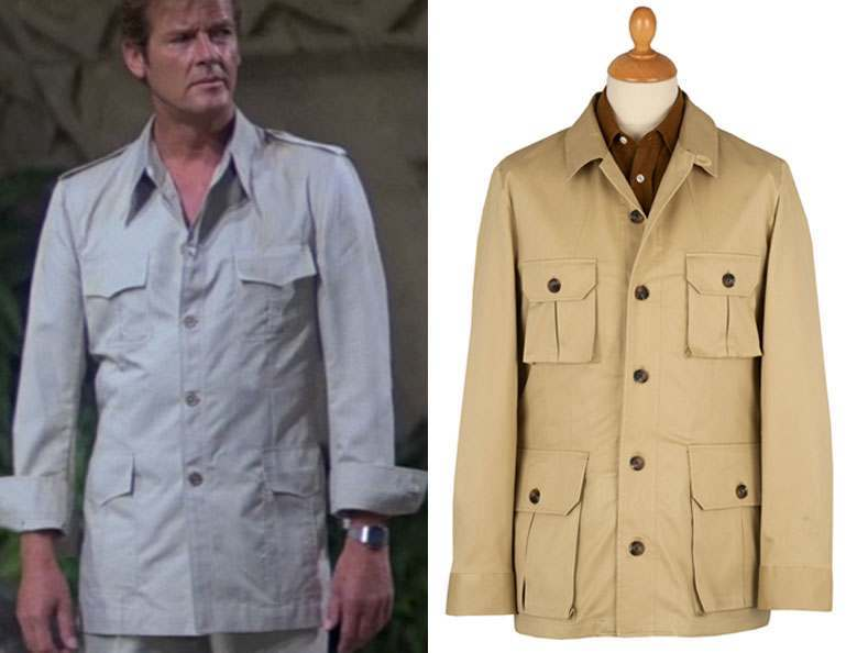Roger Moore wearing a light jacket with the sleeves rolled up, alongside a dark brown shirt & light brown jacket on a mannequin