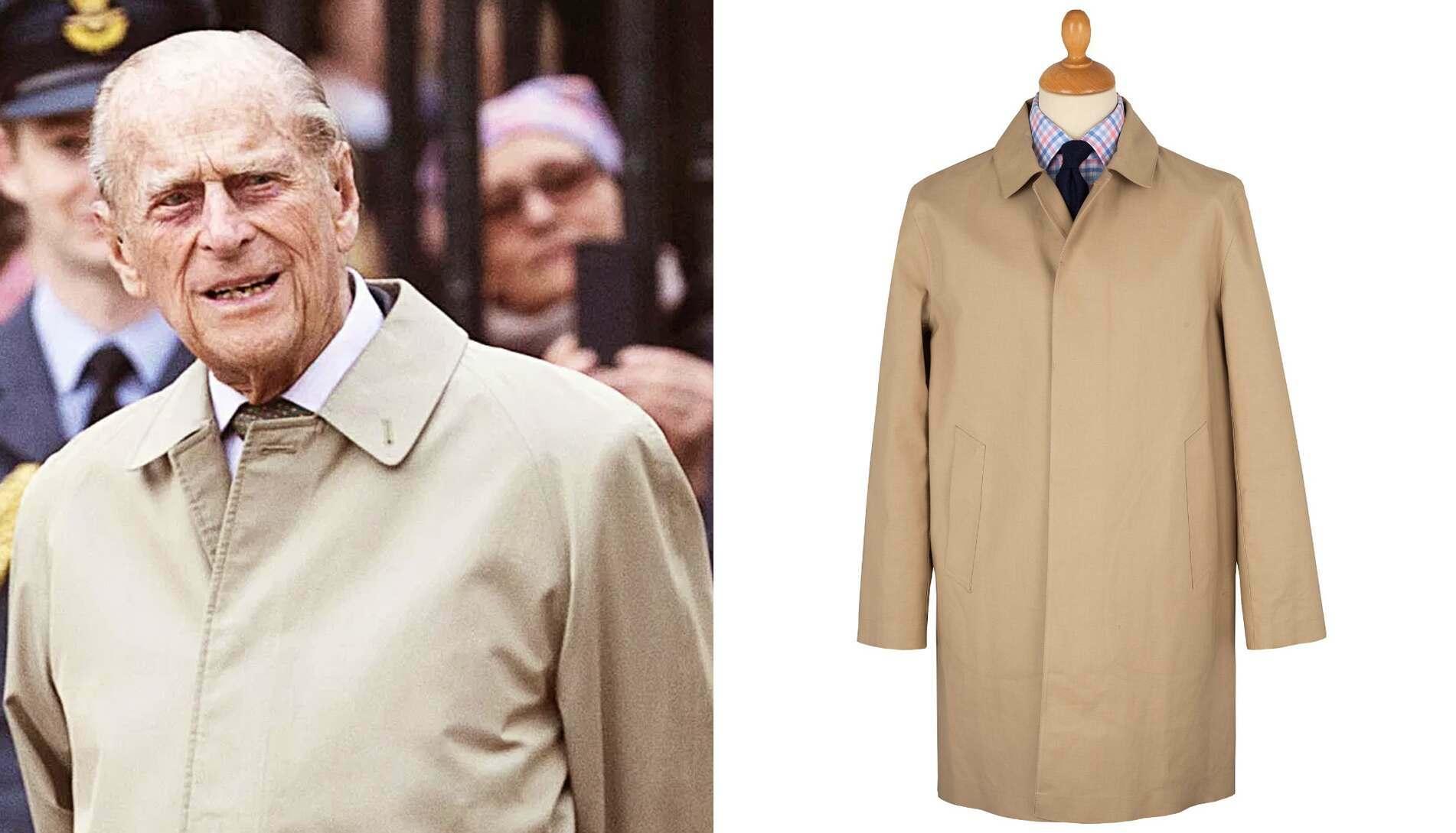 The Duke of Edinburgh's trusty camel raincoat, another favourite, worn over decades.