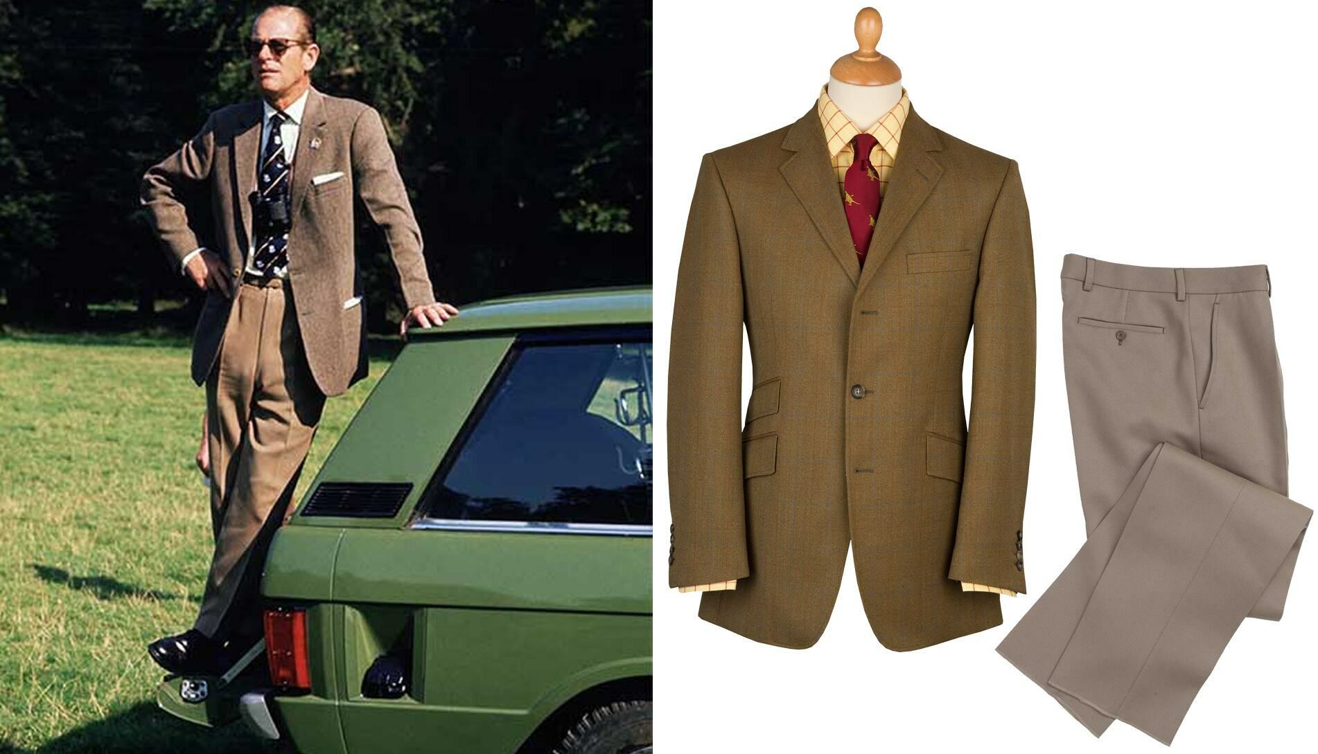 Prince Philip. Close matching the colour tones of this tweed jacket and trousers ensemble deftly brings a sleek, co-ordinated note to casual country style.