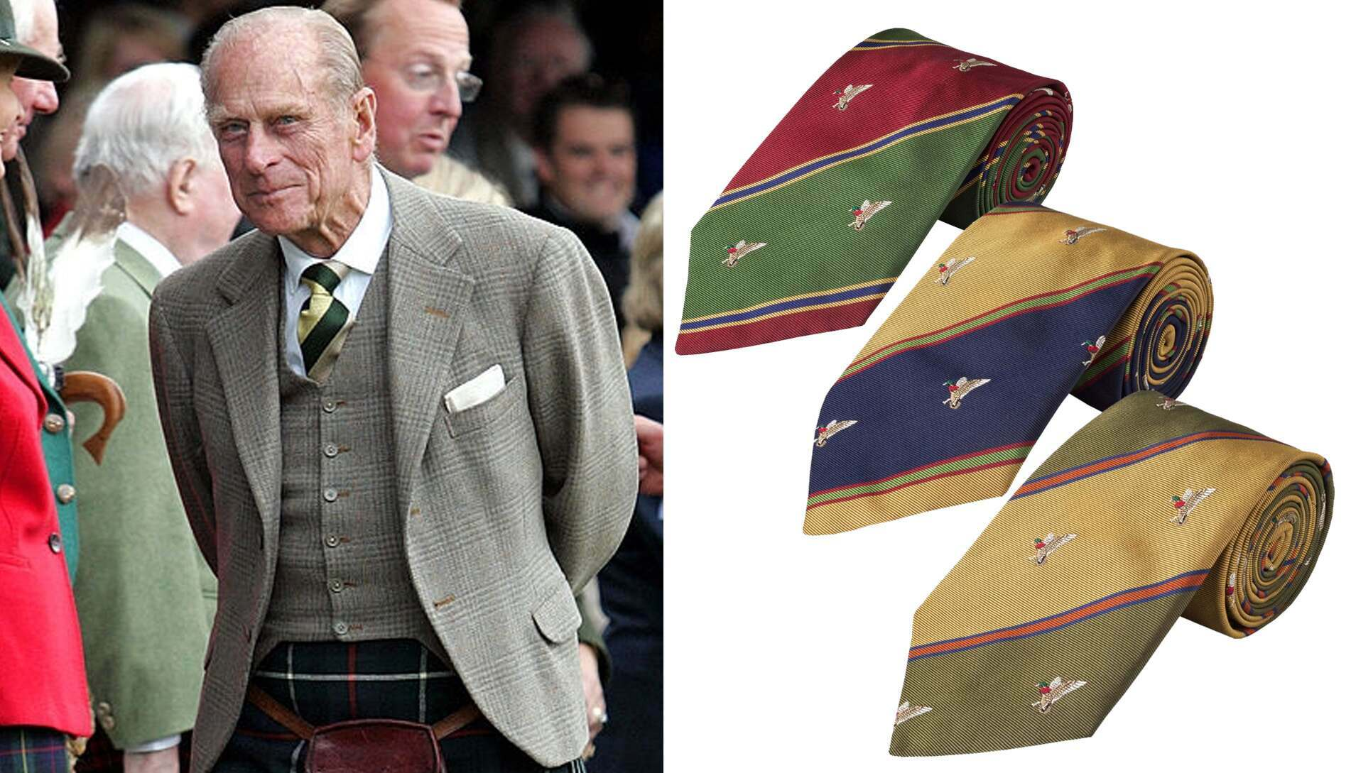 More often than not, the Duke wore a tie, and was especially fond of diagonal striped colour-block styles.