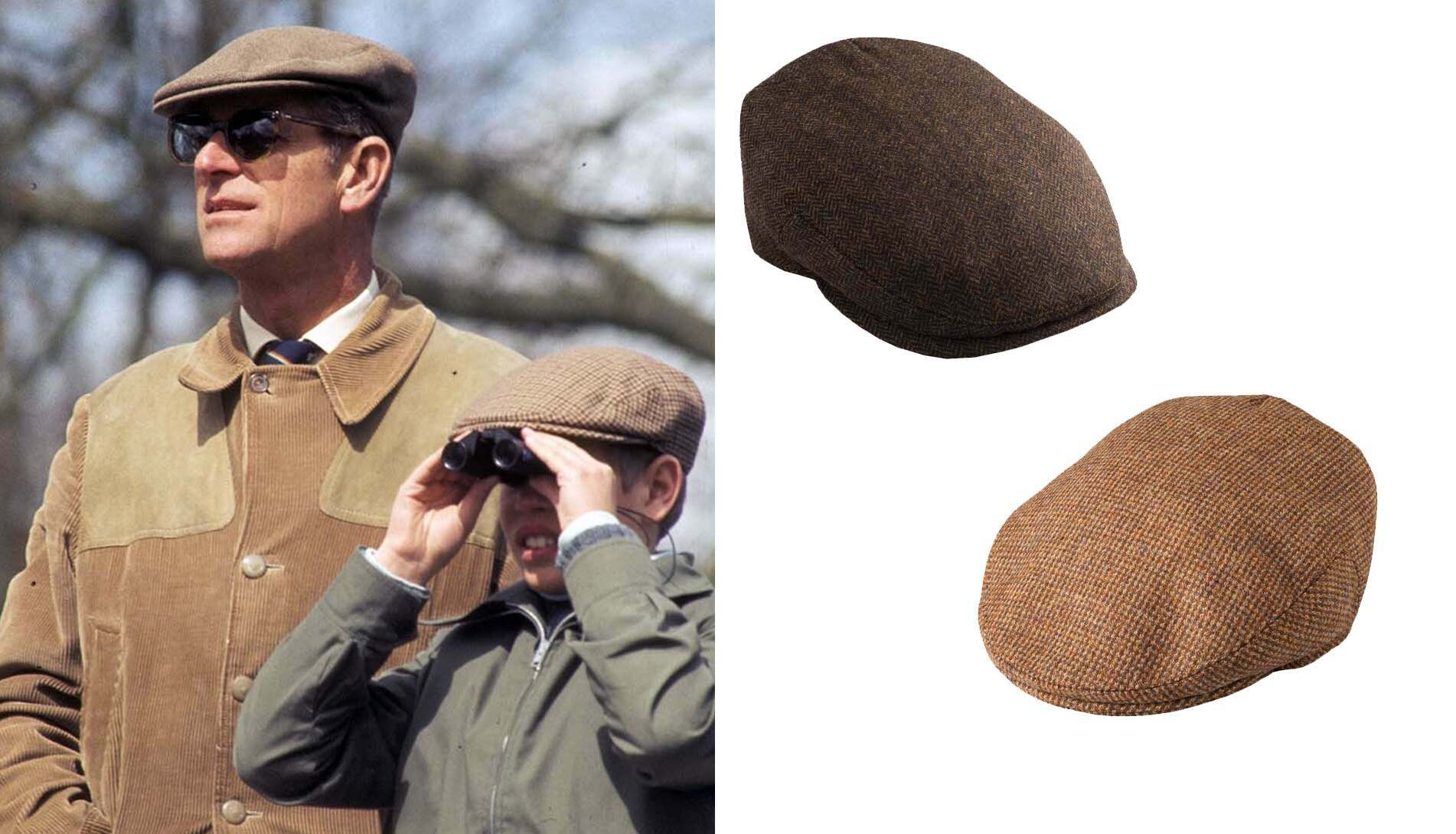 Prince Philip. The Duke liked to top off his country looks with a traditional, no-nonsense, tweed flat cap.
